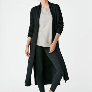 Justfab Black Ribbed Long Duster Cardigan Sweater
